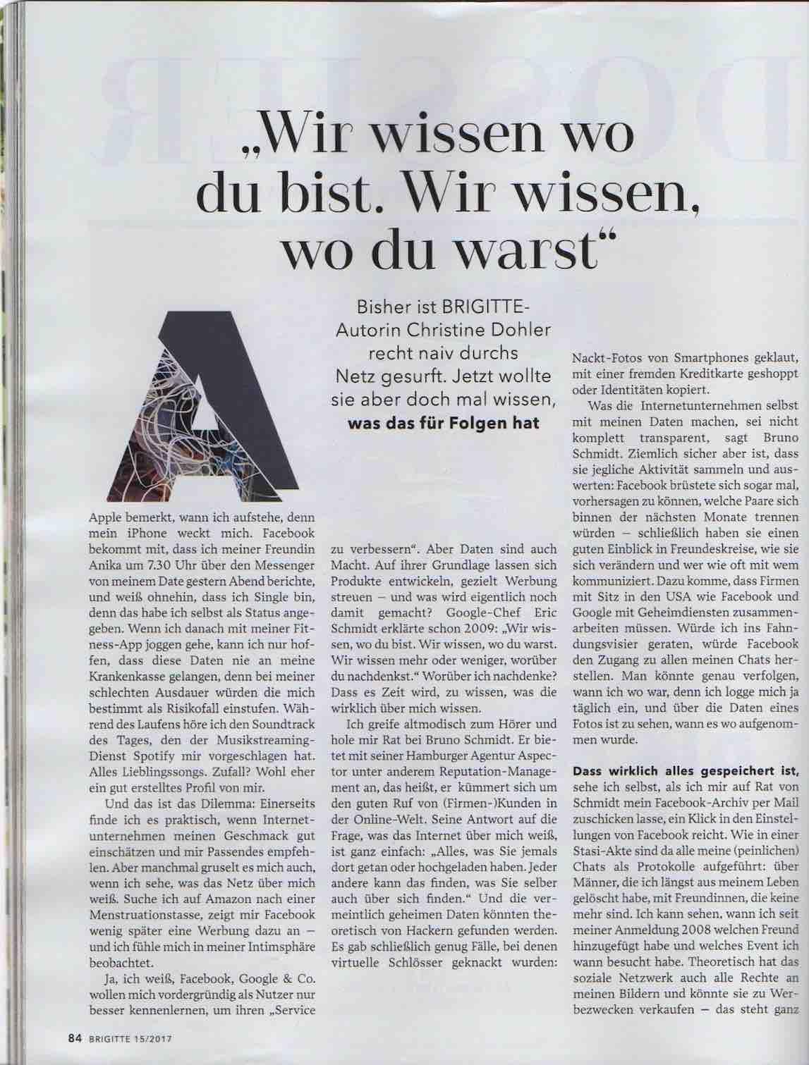 aspector hamburg bruno schmidt in der Zeitschrift Brigitte